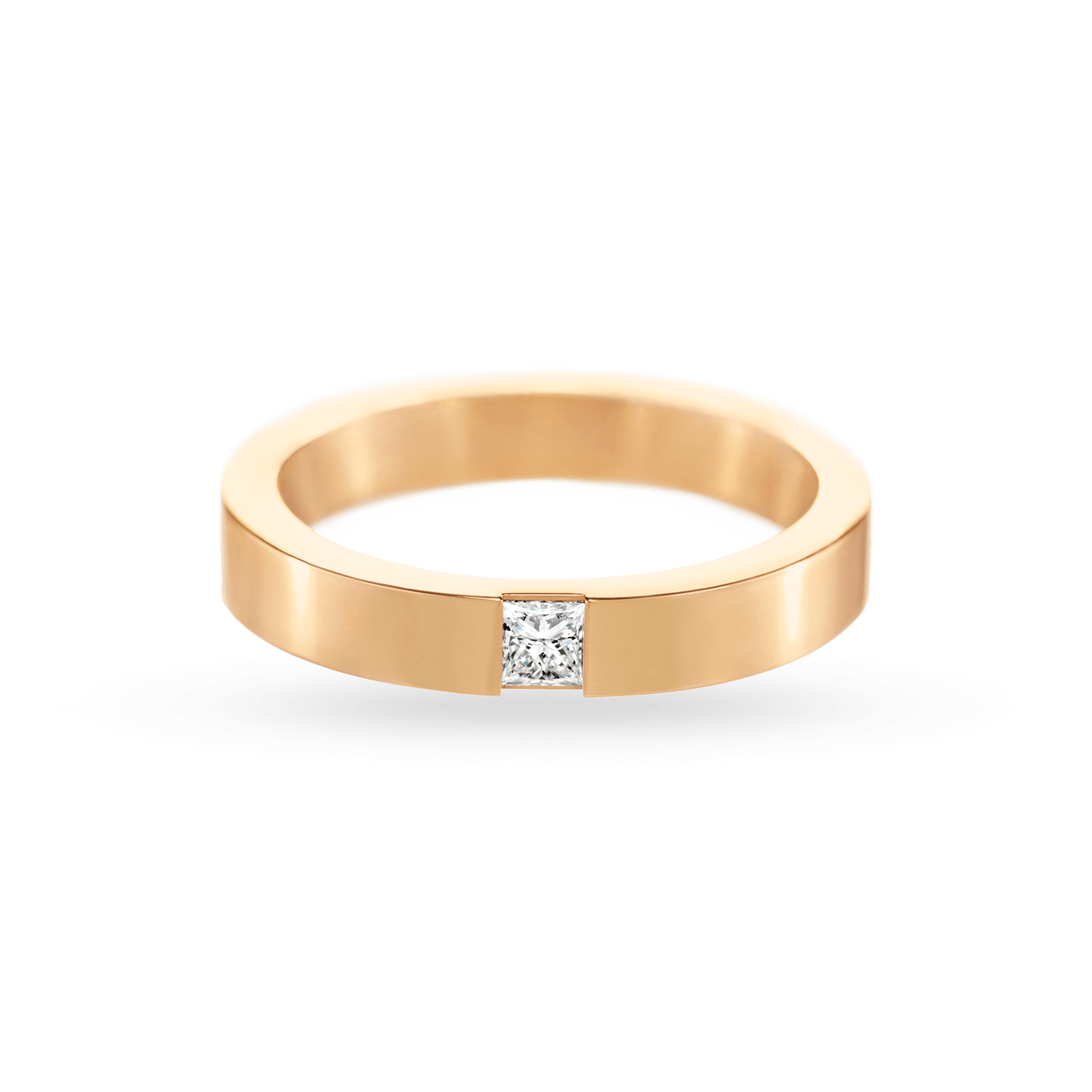 Princess-Cut Single Diamond Wedding Band in Yellow Gold, Product Image 2