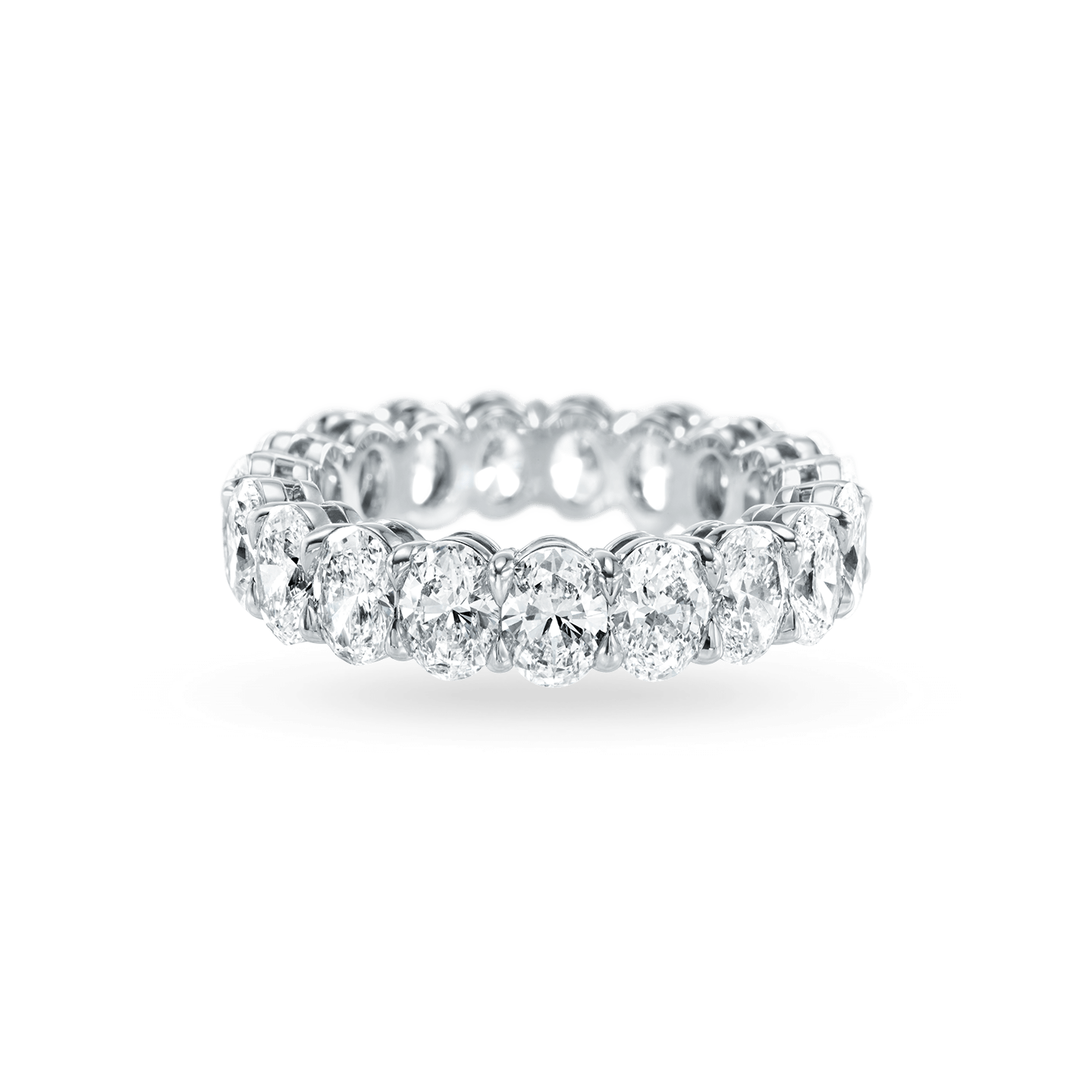 Prong-Set Oval-Shaped Diamond Wedding Band, Product Image 1