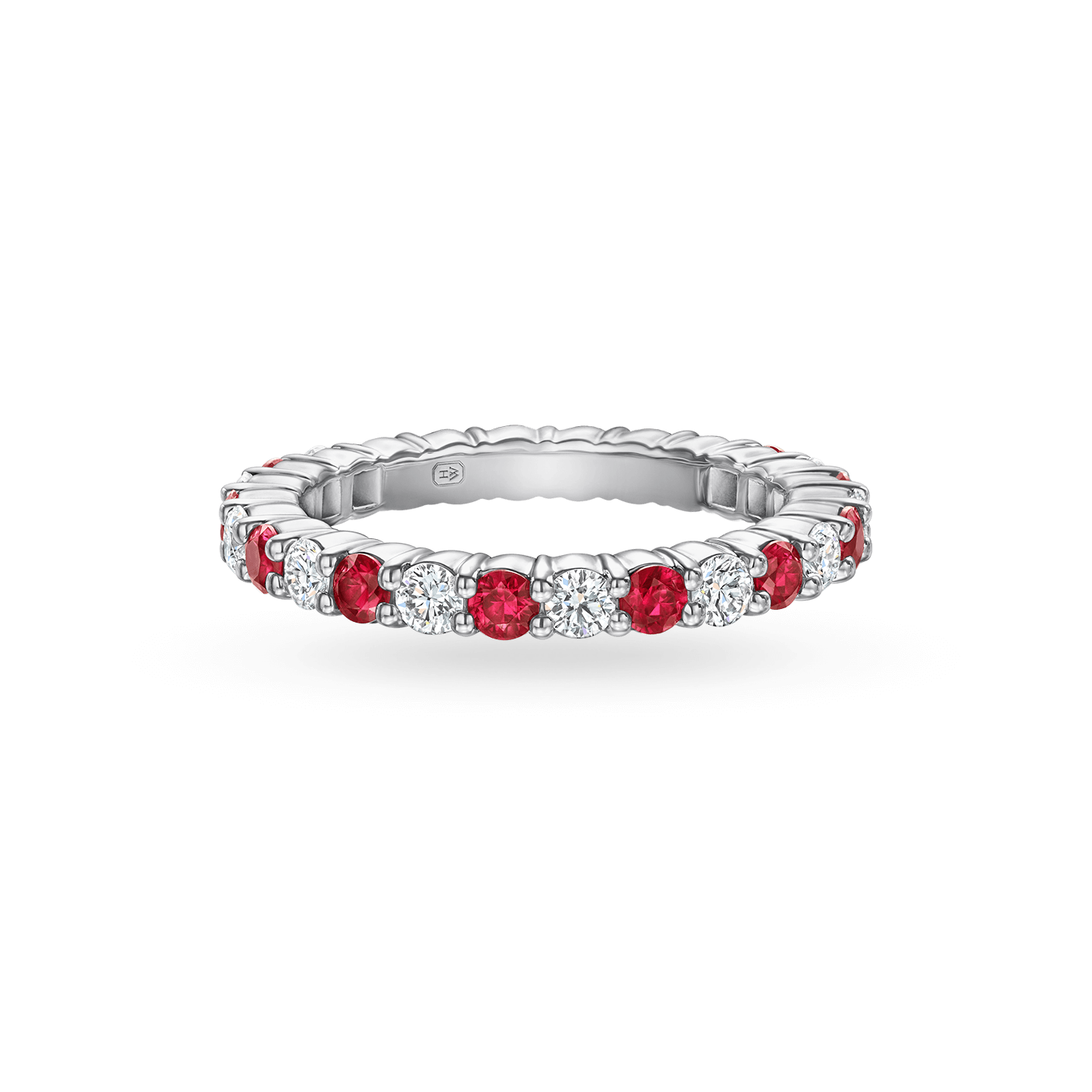 Prong-Set Round Brilliant Ruby and Diamond Wedding Band, Product Image 1
