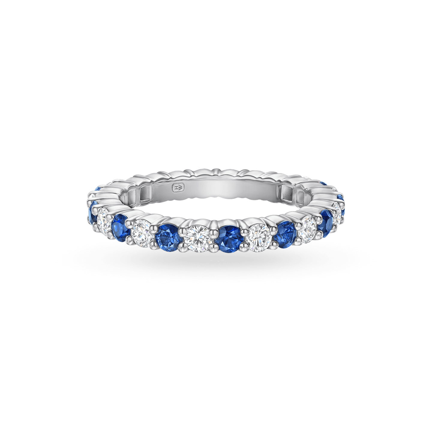 Prong-Set Round Brilliant Sapphire and Diamond Wedding Band, Product Image 1