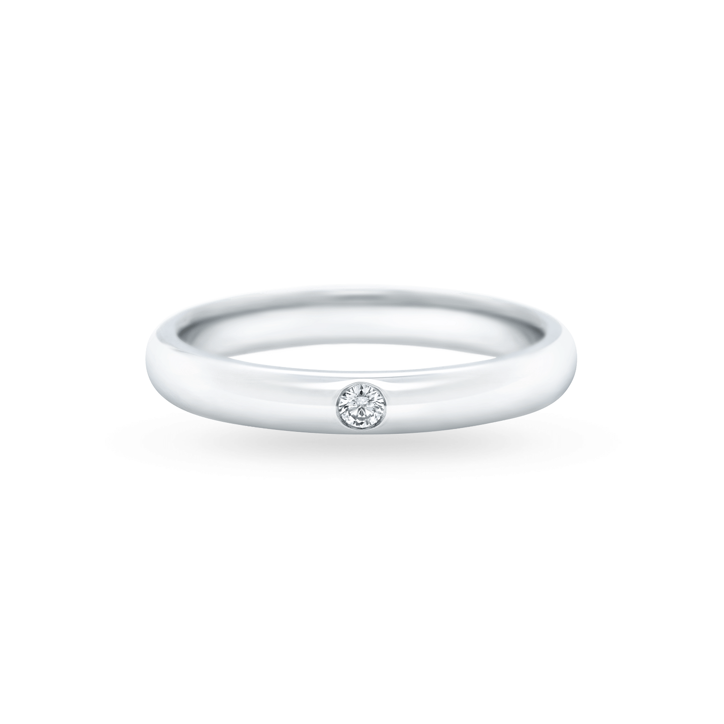 Round Brilliant Single Diamond Wedding Band, Product Image 1