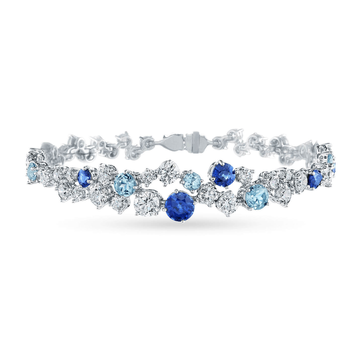 Sparkling Cluster Sapphire Aquamarine and Diamond Bracelet, Product Image 1