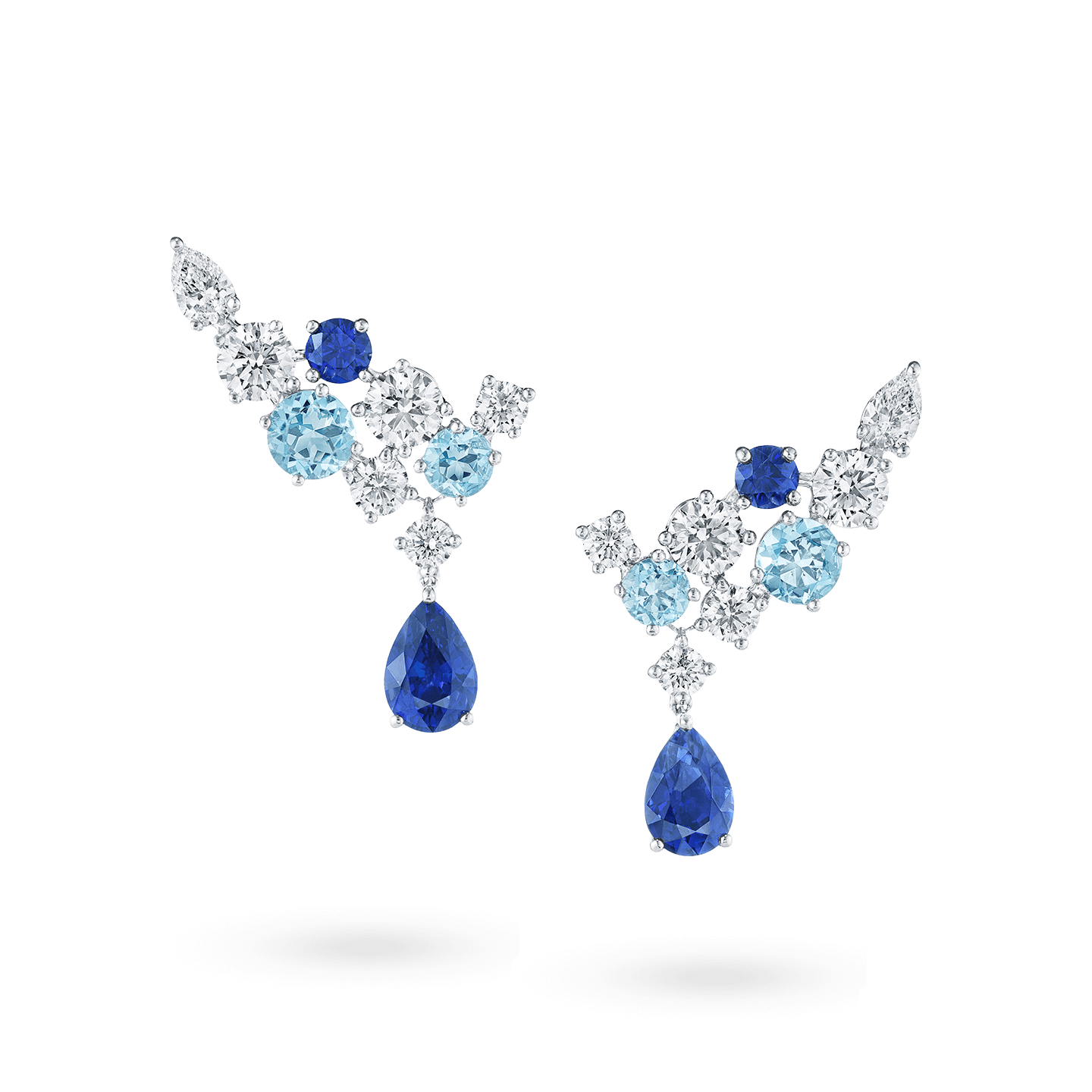 Sparkling Cluster Sapphire Aquamarine and Diamond Earrings, Product Image 1