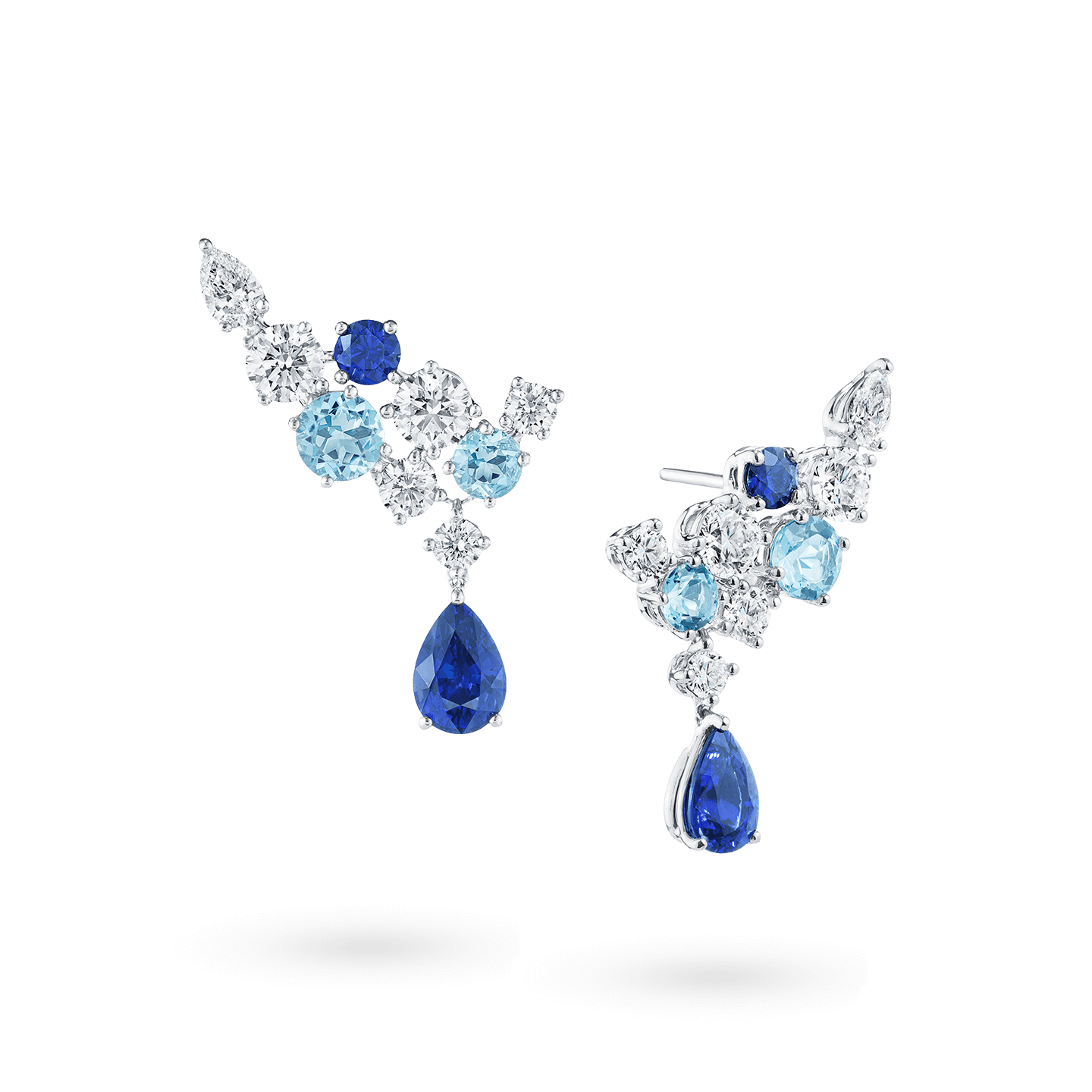 Sparkling Cluster Sapphire Aquamarine and Diamond Earrings, Product Image 2