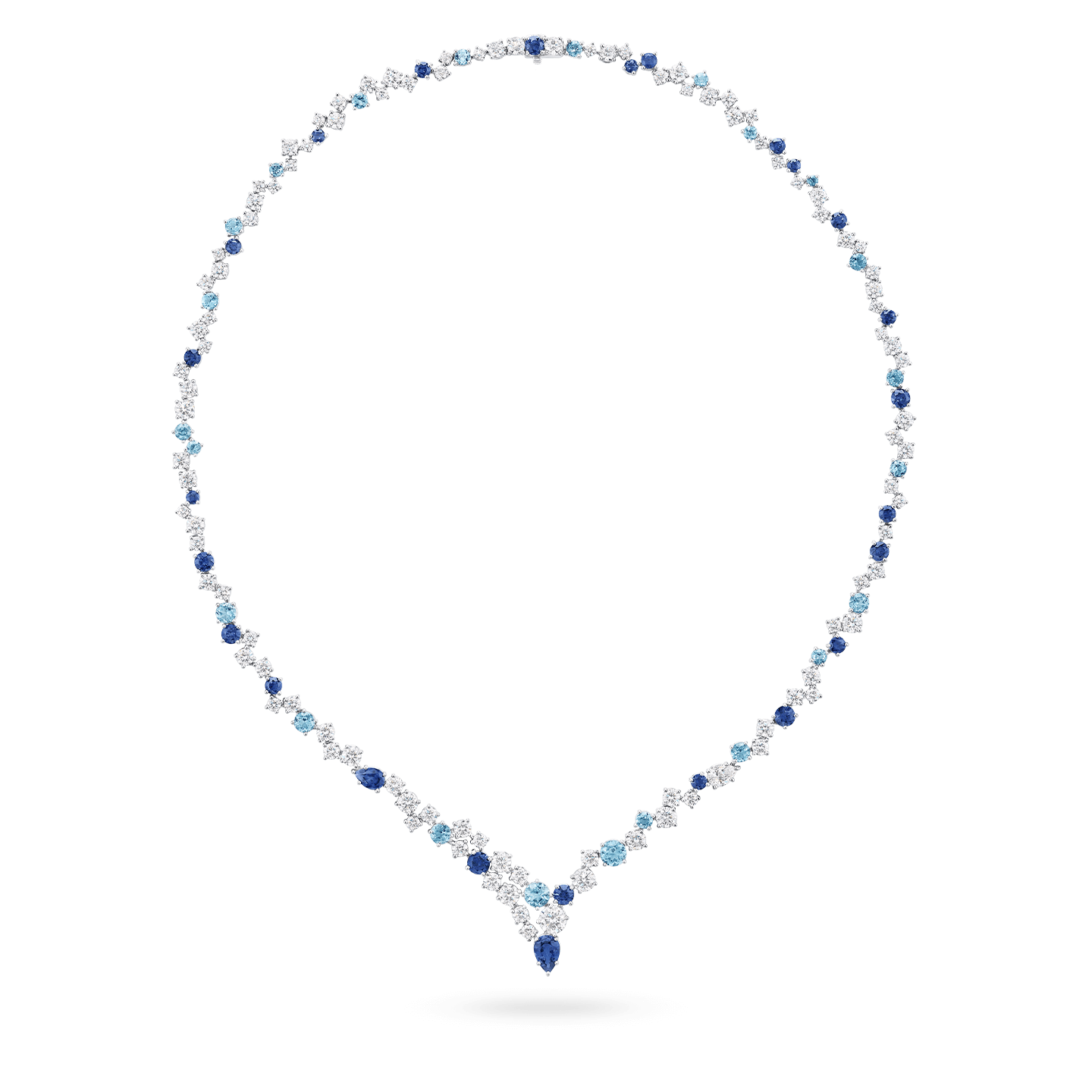 Sparkling Cluster Sapphire Aquamarine and Diamond Necklace, Product Image 1
