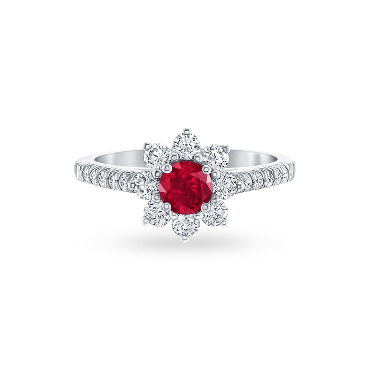 Sunflower Petite Ruby and Diamond Ring, Product Image 1