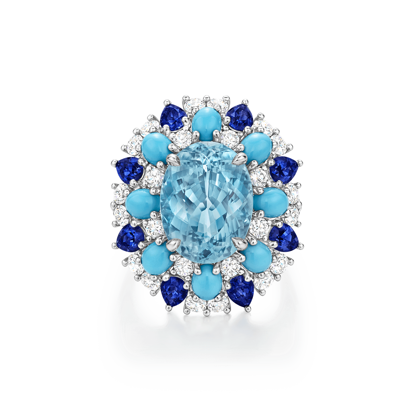 Winston Candy Paraiba Tourmaline Ring with Sapphires, Turquoise and Diamonds