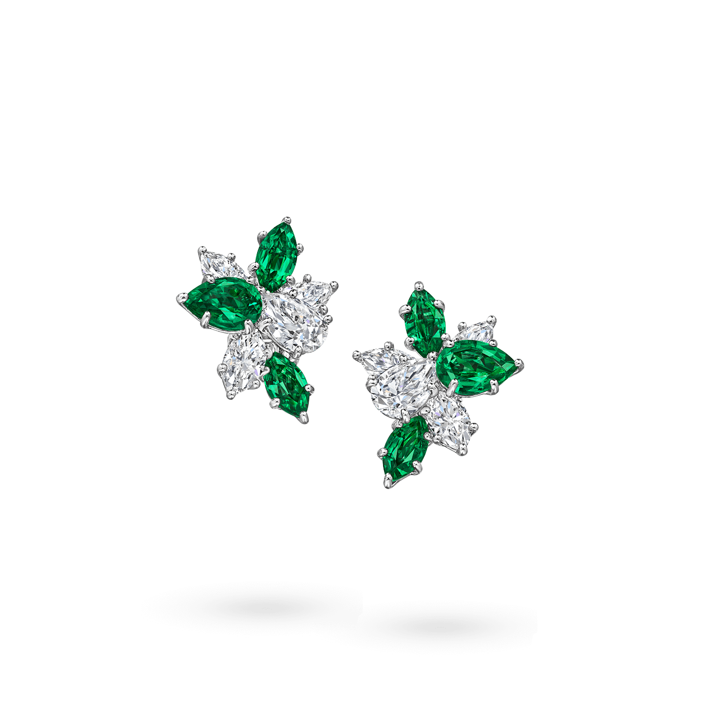 Winston Cluster Emerald and Diamond Earrings, Product Image 1