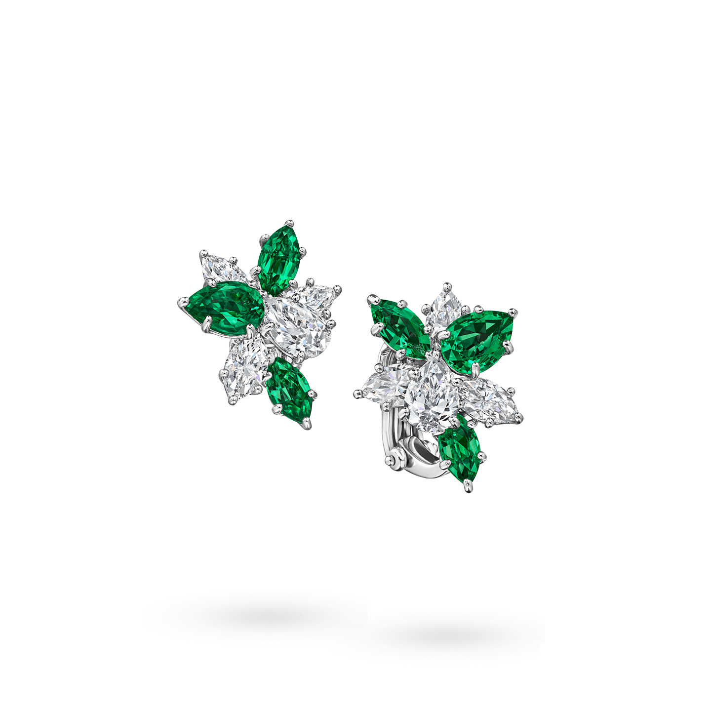 Winston Cluster Emerald and Diamond Earrings, Product Image 2