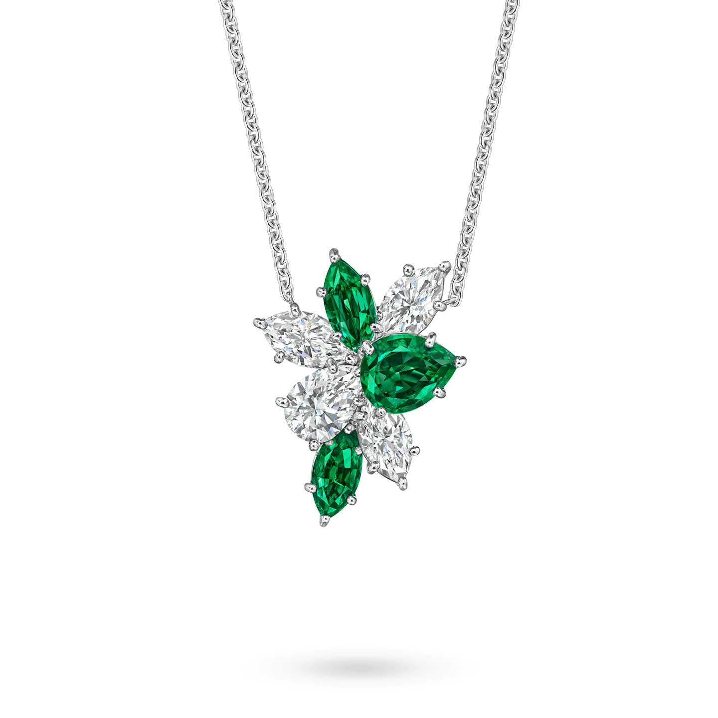 Winston Cluster Emerald and Diamond Pendant, Product Image 1