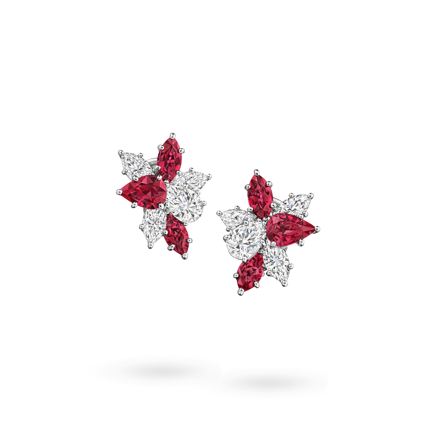 Winston Cluster Ruby and Diamond Earrings, Product Image 1