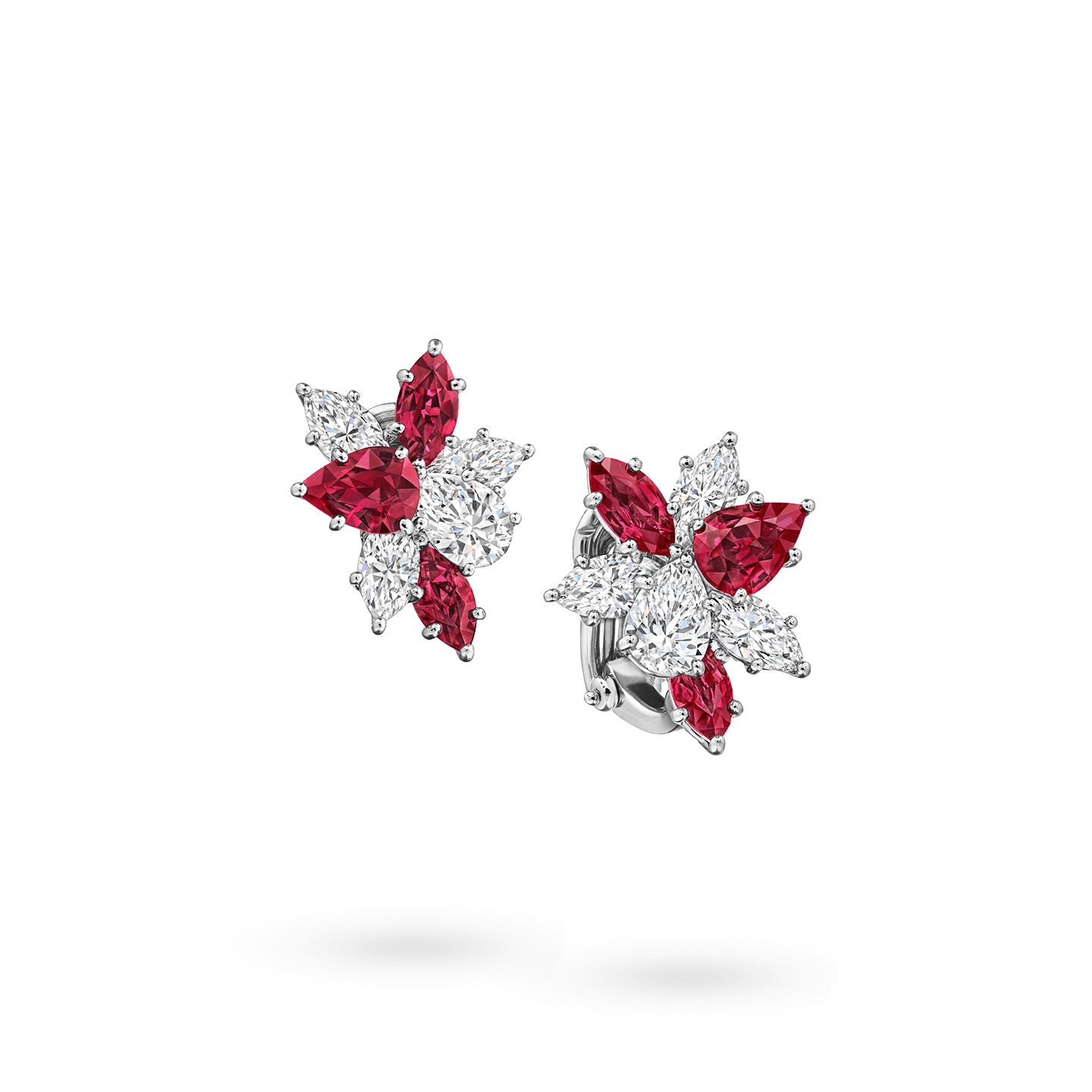 Winston Cluster Ruby and Diamond Earrings, Product Image 2