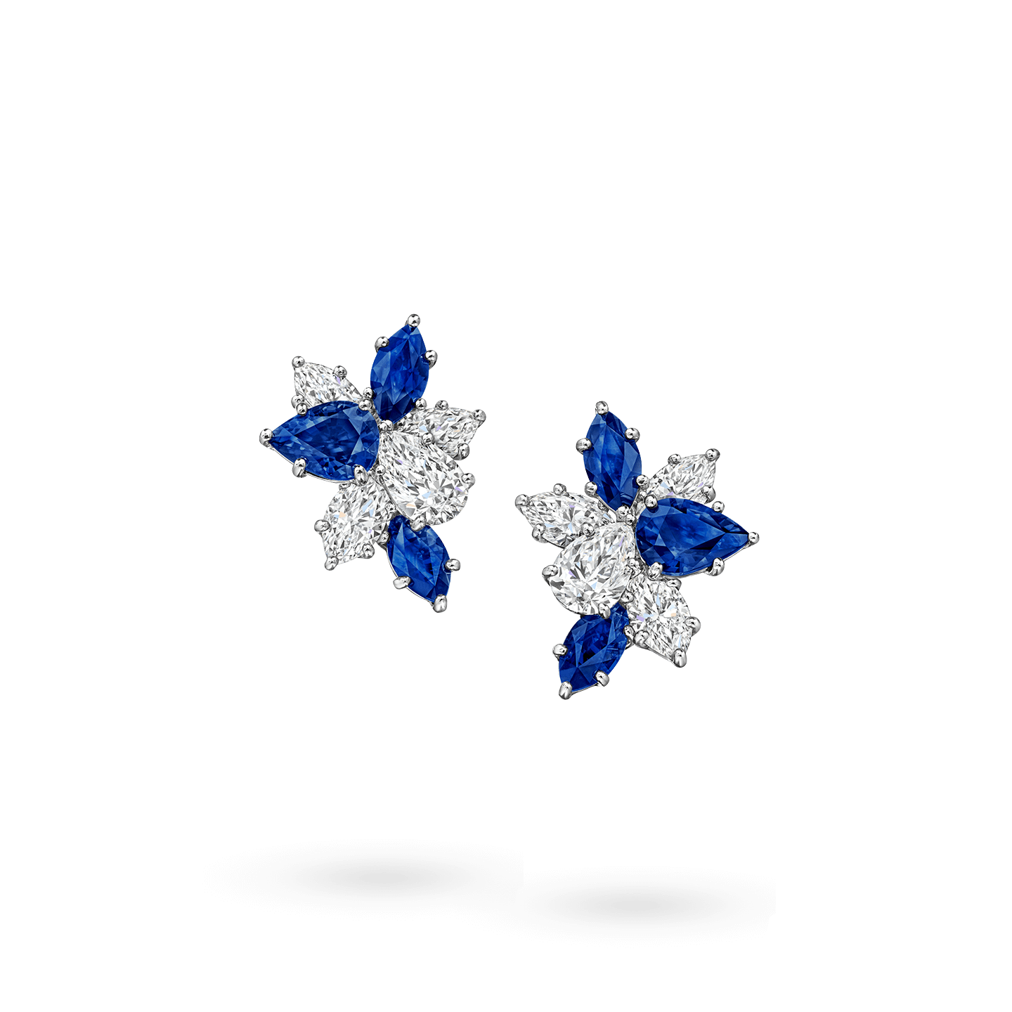 Winston Cluster Sapphire and Diamond Earrings, Product Image 1