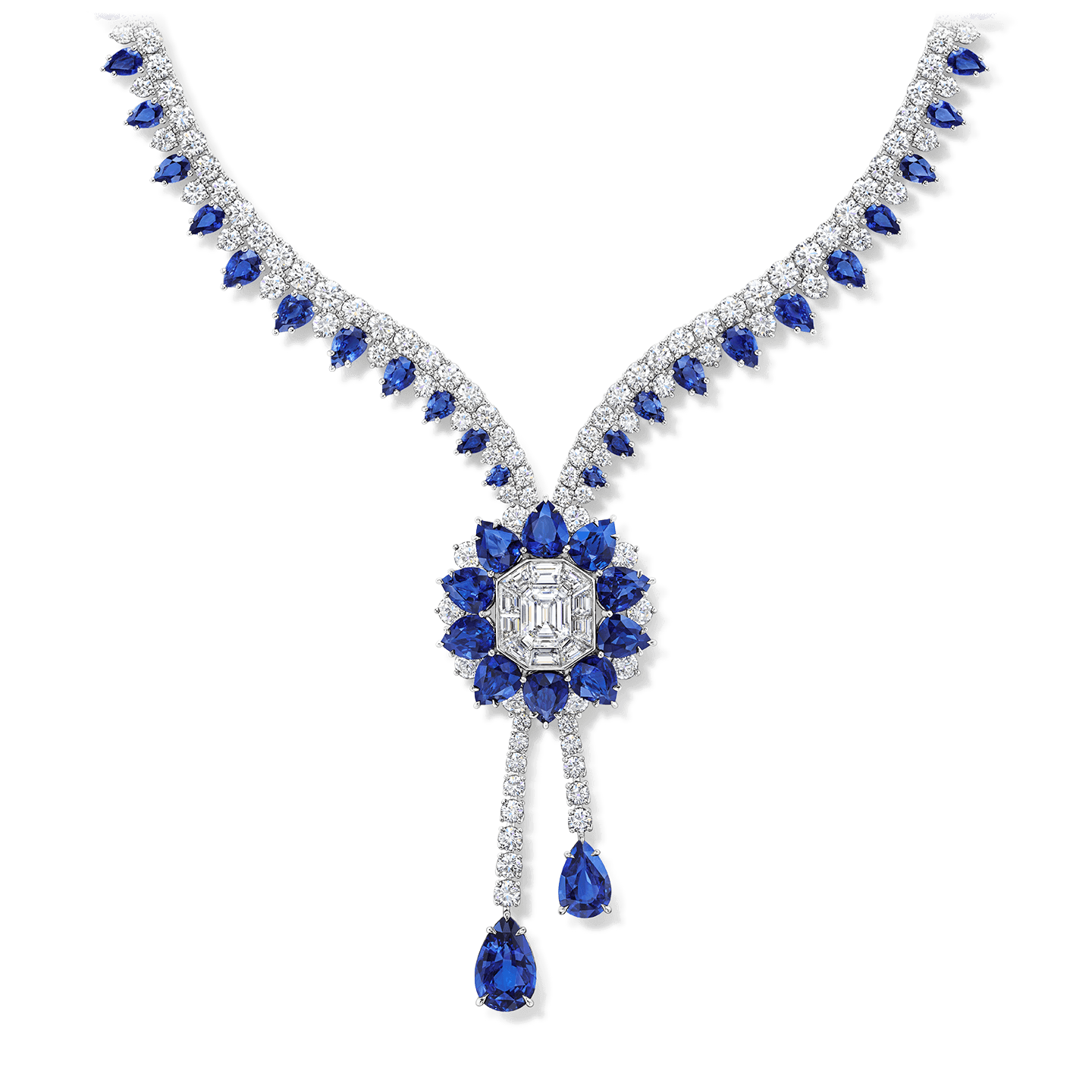 A necklace featuring a 2.77 carat emerald-cut diamond center  stone with 69 pear-shaped sapphires and 204 baguette and round brilliant diamonds set in platinum