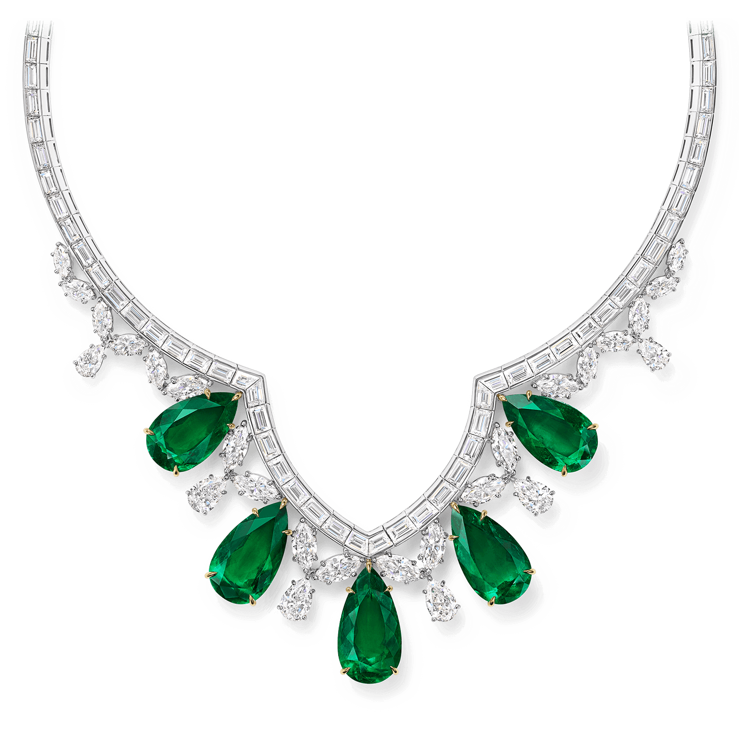Cathedral Emerald and Diamond Necklace