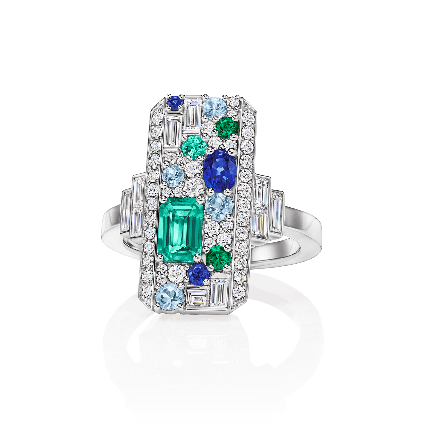 An octagonal ring featuring 3 round and oval-shaped sapphires, 4 round aquamarines, and 1 emerald-cut and 3 round emeralds weighing a total of approximately 1.05 carats with 54 square-cut, baguette and round brilliant diamonds set in platinum