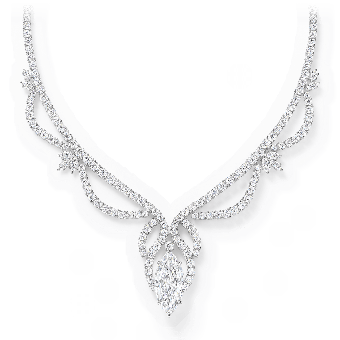 A spectacular diamond necklace featuring a marquise diamond weighing 10.72 carats with 205 marquise and round brilliant diamonds set in platinum