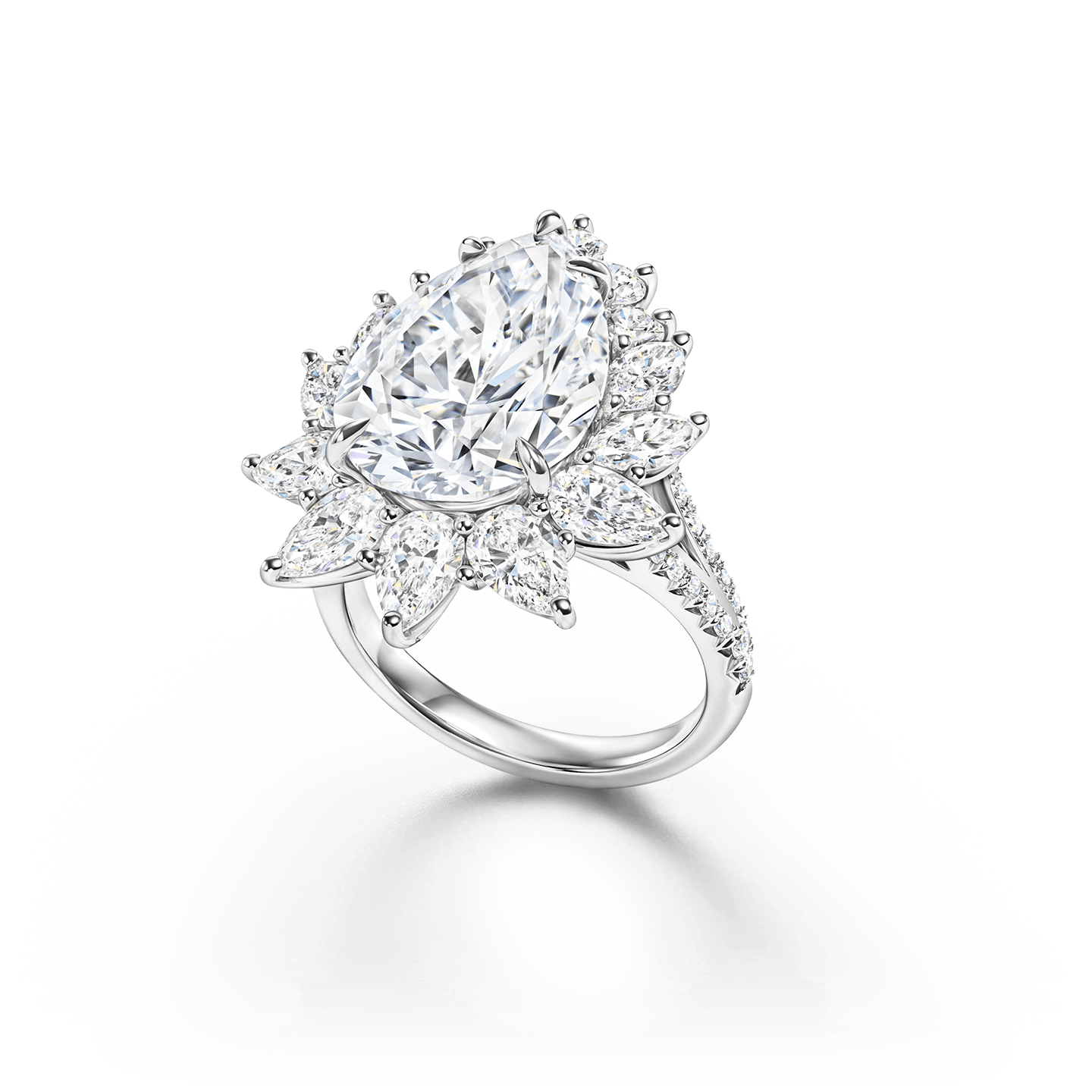 An illustrious diamond ring featuring a 6.22 carat pear-shaped diamond with 14 pear-shaped and round brilliant diamonds set in platinum