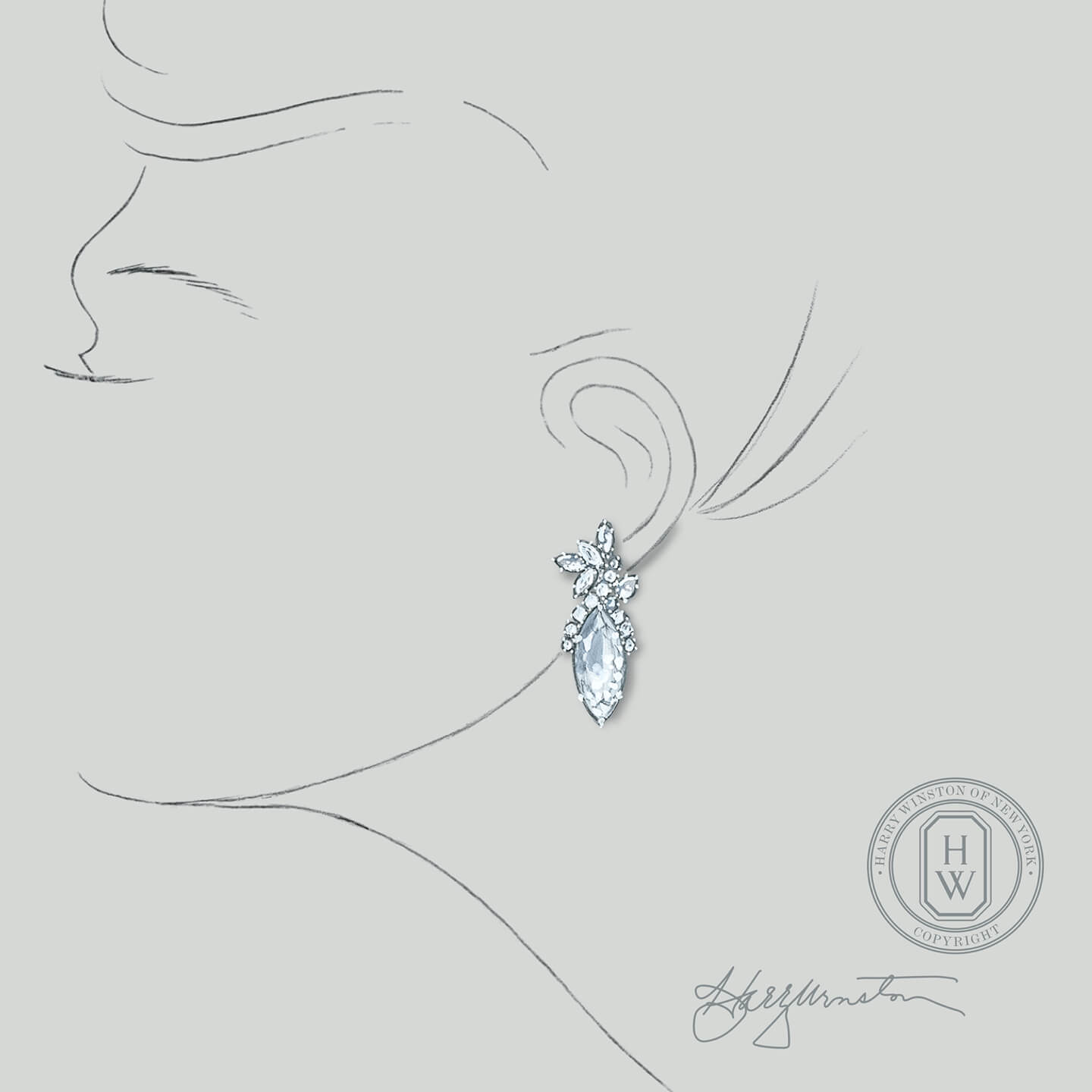 Sketch of an exquisite diamond earring from the Legacy Collection by Harry Winston