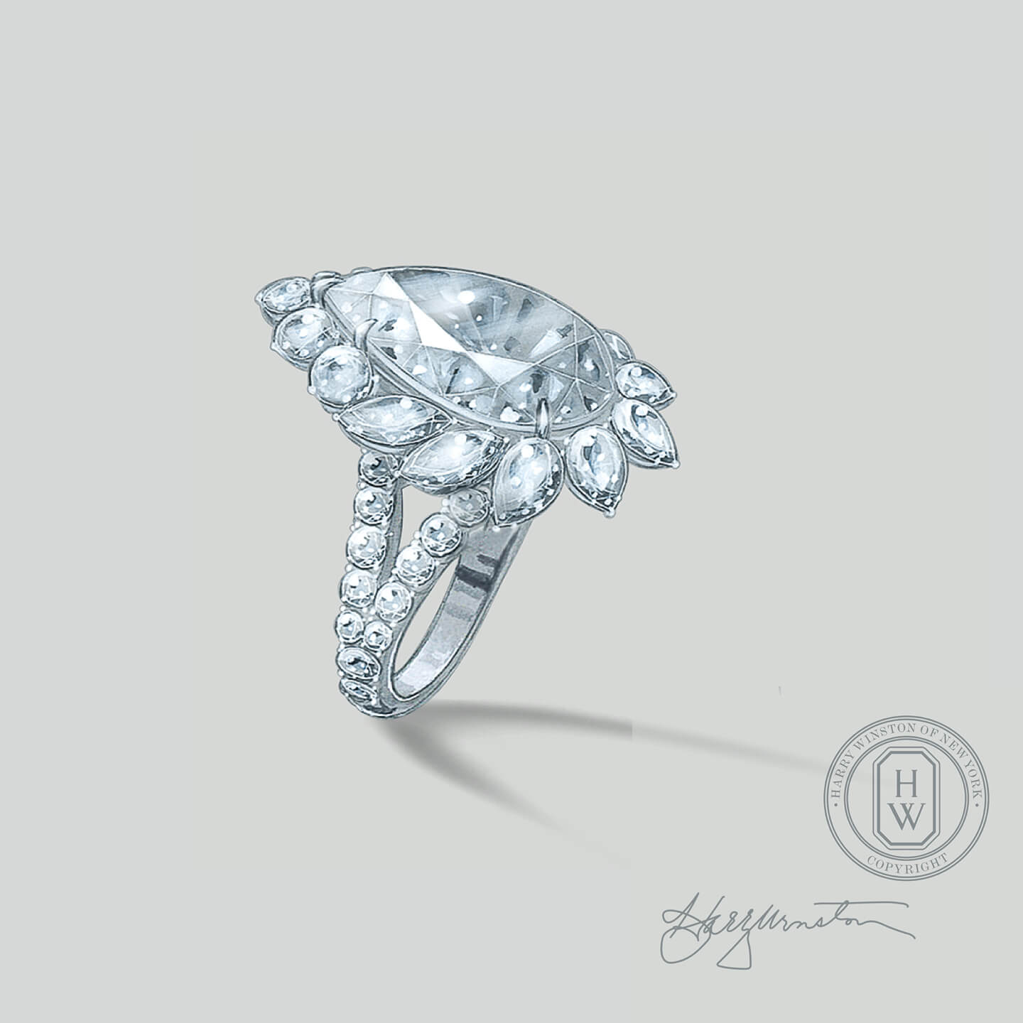 Sketch of a pear-shaped diamond ring from the Legacy Collection by Harry Winston