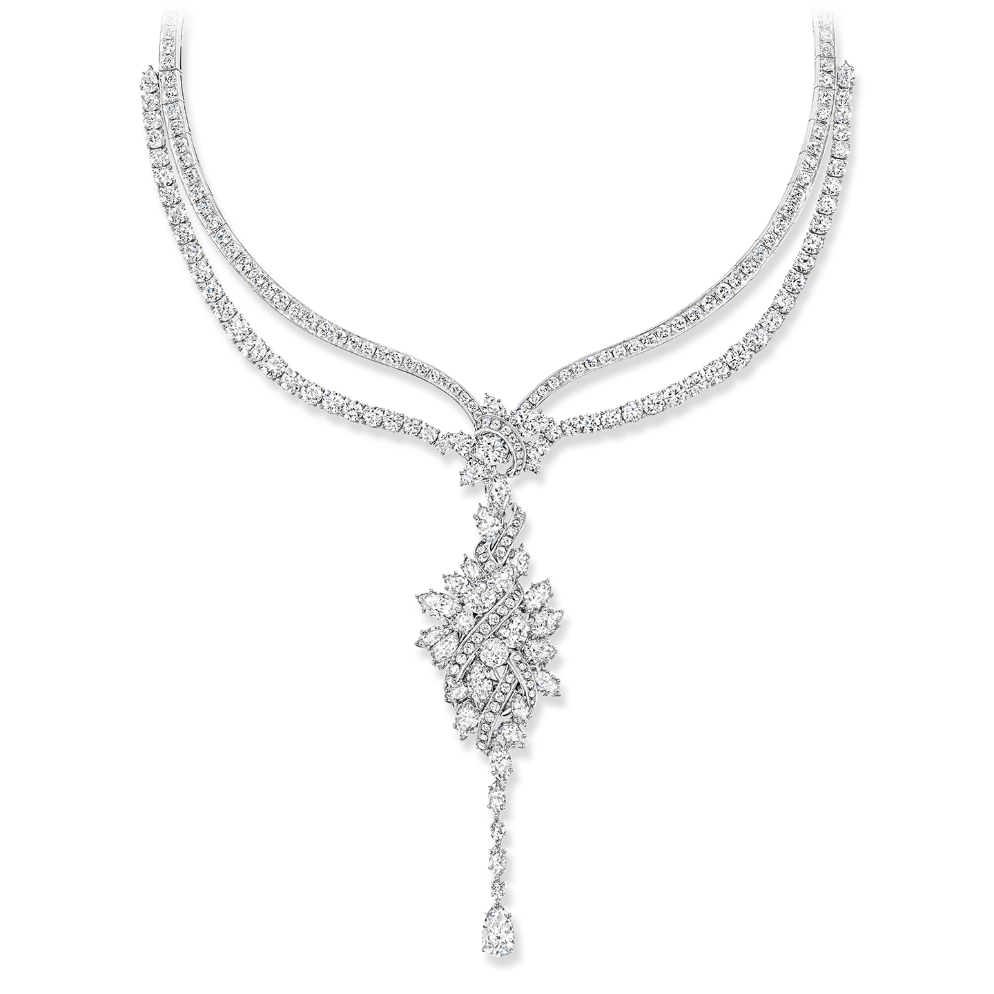 A necklace with 530 marquise, pear-shaped and round brilliant diamonds weighing a total of approximately 81.85 carats, set in platinum.  The necklace's featured cluster pendant is a locket. Other elements of the necklace may be worn in seven different configurations.
