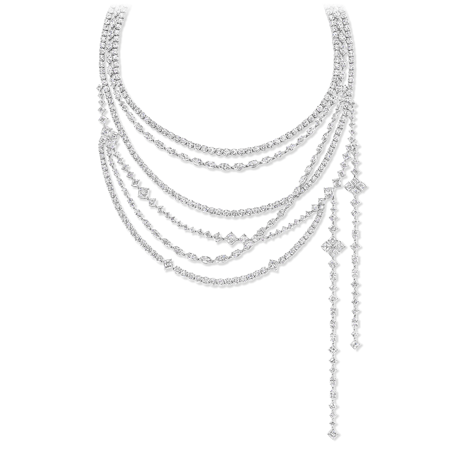 A necklace with 568 marquise, round brilliant, and square emerald-cut diamonds weighing a total of approximately 115.90 carats, set in platinum. Elements of the necklace may be worn in seven different configurations.