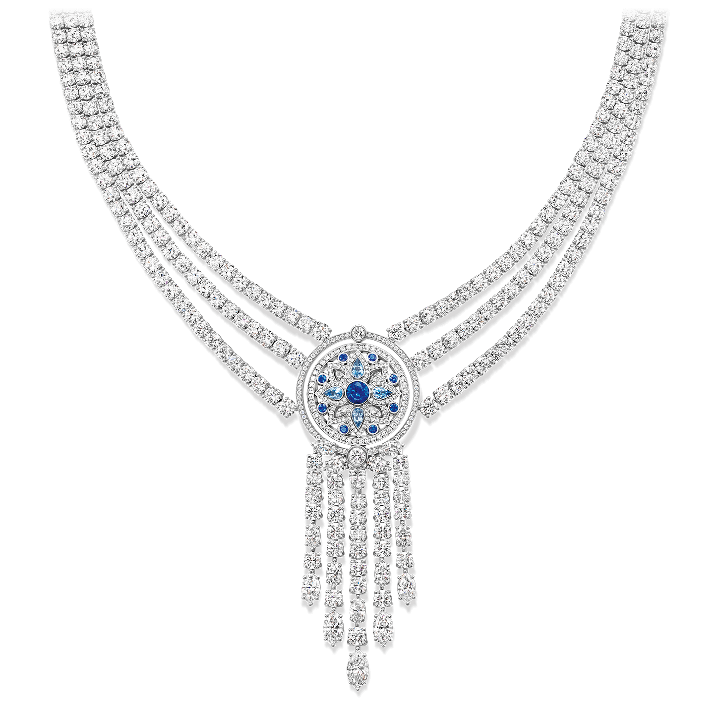 A three-row necklace with 4 pear-shaped aquamarines, 9 round sapphires, 686 marquise, pear-shaped, and round brilliant diamonds, set in platinum. The center motif is reversible.