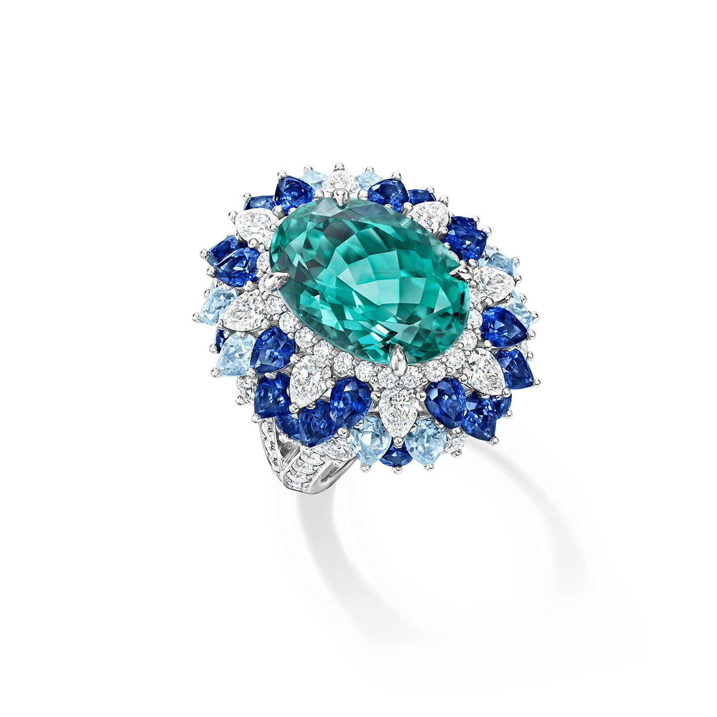 Winston Candy Blue Green Tourmaline Ring with Sapphires, Aquamarine and Diamonds