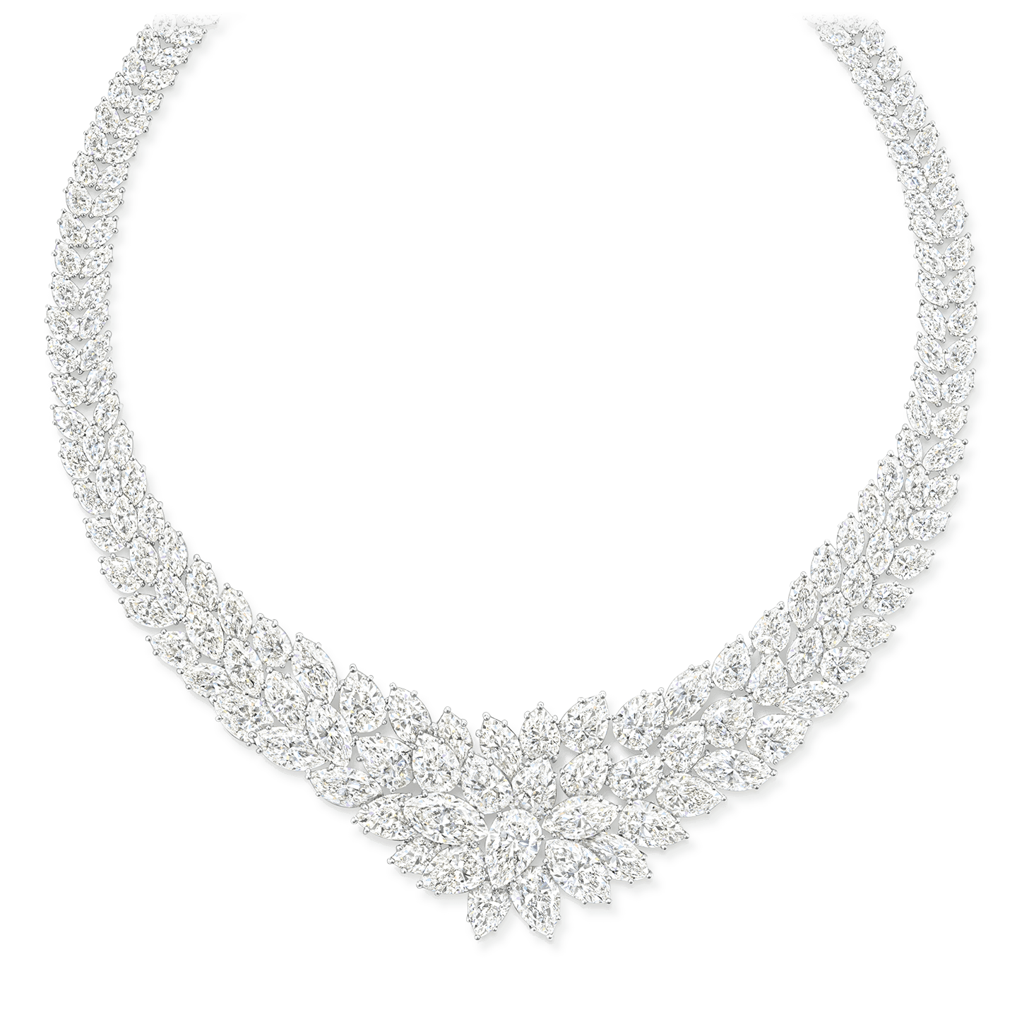 A necklace featuring 195 marquise and pear-shaped diamonds weighing a total of approximately 136.66 carats, set in platinum.