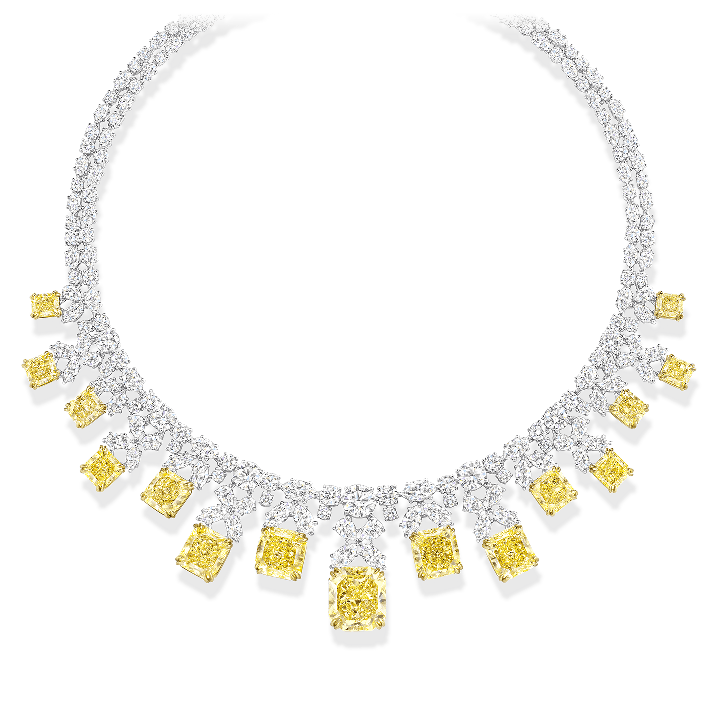 A necklace featuring w15 radiant-cut fancy yellow diamonds weighing a total of approximately 53.50 carats with 186 marquise, pear-shaped, and round brilliant colorless diamonds, set in platinum and 18 karat yellow gold