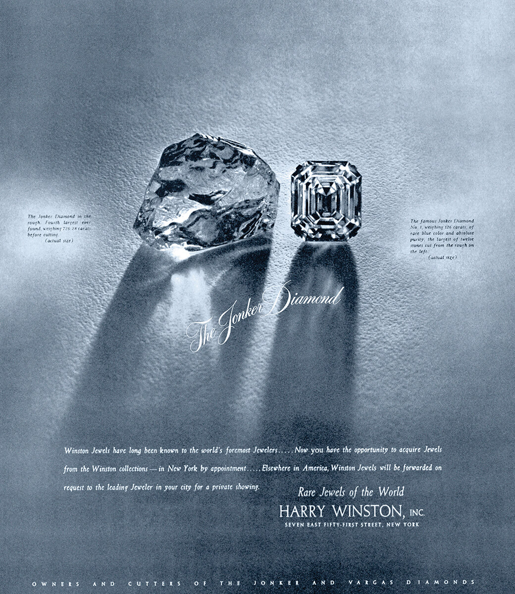 Vintage Harry Winston advertising with side-by-side images of the Jonker diamond rough next to one of it's largest cut stones