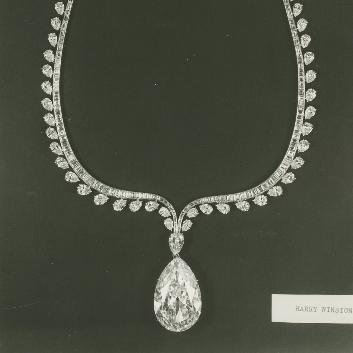 Black and white image of The Winston Diamond set in a necklace