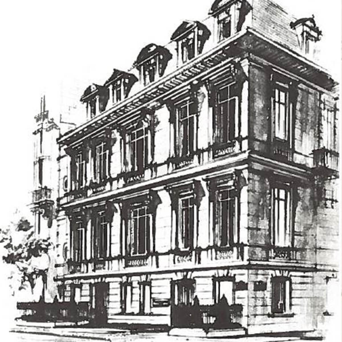 A black and white rendering of the first international  Harry Winston salon in Geneva, Switzerland