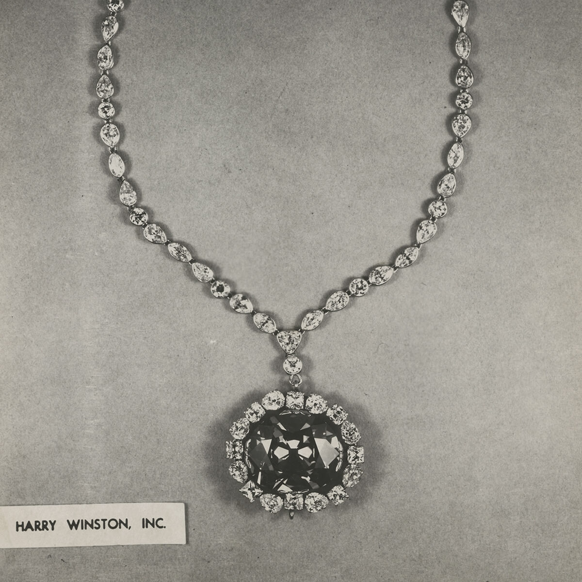 A black and white image of the original necklace setting for The Hope Diamond