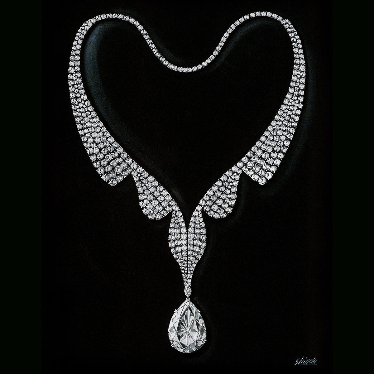 Sketch of a necklace featuring aflawless 69.42 carat pear-shaped diamond that would be purchased by Richard Burton for Elizabeth Taylor and named the Taylor-Burton Diamond