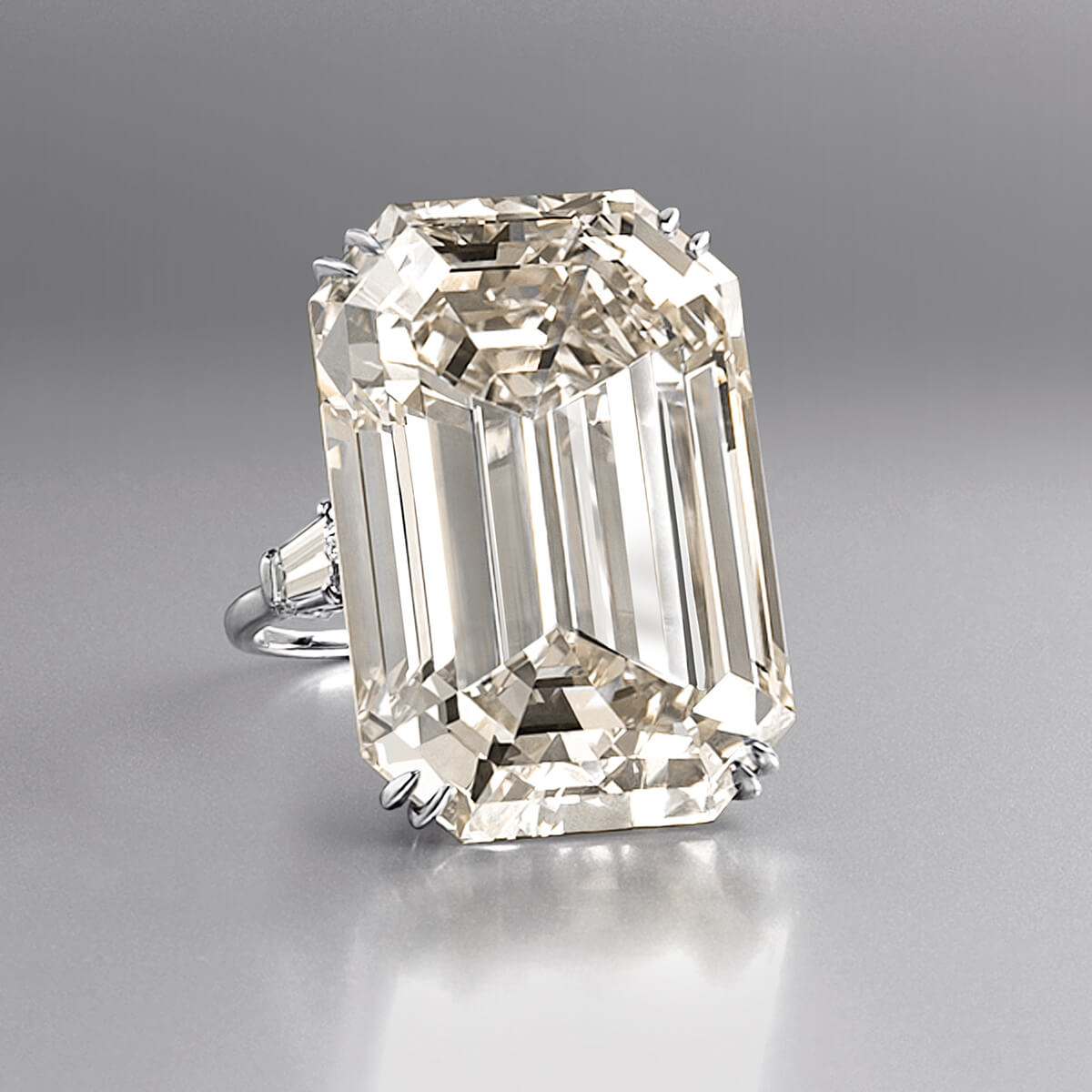 An emerald-cut diamond ring weighing 71.73 carats created from the Lesotho rough diamond