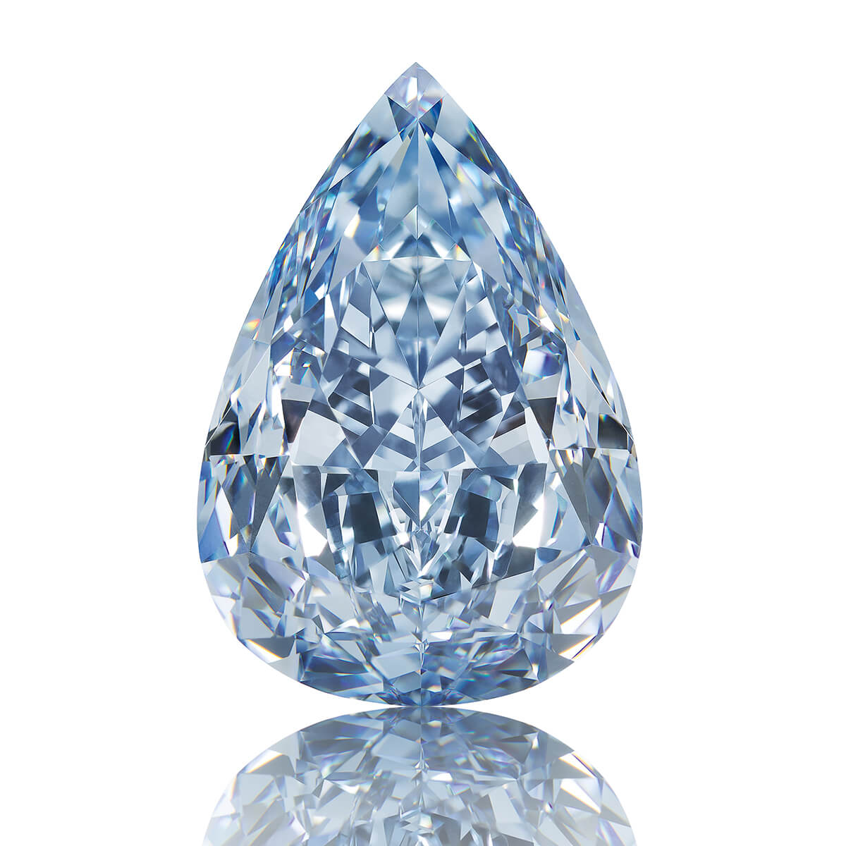 Image of the loose pear-shaped Winston Blue fancy vivid blue diamond